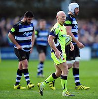 Peter Stringer of Sale Sharks looks on during a break in play. Aviva Premiership match, between Bath Rugby and Sale Sharks on April 23, 2016 at the Recreation Ground in Bath, England. Photo by: Patrick Khachfe / Onside Images