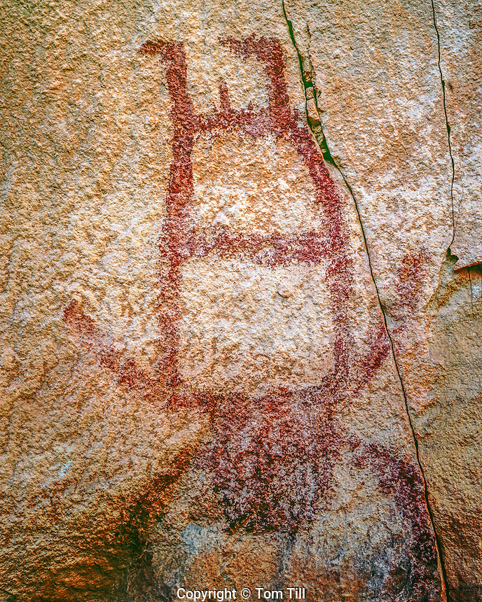 "Fremont rock art, Range Creek Wildlife Management Area, Utah, ""Upside-down Man"", Ancient Fremont Culture petroglyphs, Range Creek Canyon"