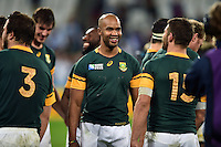 JP Pietersen of South Africa is all smiles after the match. Rugby World Cup Bronze Final between South Africa and Argentina on October 30, 2015 at The Stadium, Queen Elizabeth Olympic Park in London, England. Photo by: Patrick Khachfe / Onside Images