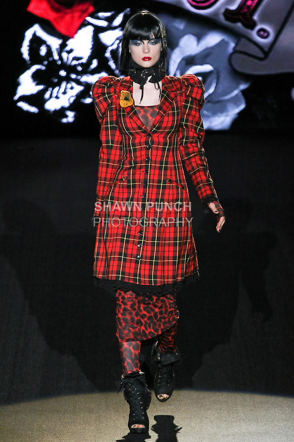 Jandra walks runway in a P.S. I Love You outfit, from the Betsey Johnson Fall 2011 He Loves Me Not - Black Tag collection, during Mercedes-Benz Fashion Week Fall 2011.