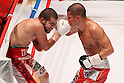 (L to R)  David De La Mora (Mex), Koki Kameda (JPN), AUGUST 31, 2011 - Boxing : Koki Kameda of Japan in action against David De La Mora of Mexico during the WBA Bantam weight title bout at Nippon Budokan, Tokyo, Japan. Koki Kameda of Japan won the fight on points after twelve rounds. (Photo by Yusuke Nakanishi/AFLO SPORT) [1090]