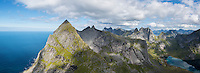 View towards Stamprevtinden and mountains of Moskensoy from summit of Helvetestinden, Lofoten Islands, Norway