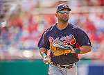 11 March 2013: Atlanta Braves infielder Ernesto Mejia trots back to the dugout during a Spring Training game against the Washington Nationals at Space Coast Stadium in Viera, Florida. The Braves defeated the Nationals 7-2 in Grapefruit League play. Mandatory Credit: Ed Wolfstein Photo *** RAW (NEF) Image File Available ***