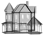X-ray image of a paper house (black on white) by Jim Wehtje, specialist in x-ray art and design images.