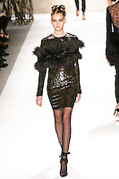 Anya Kazakova walks runway in a Monique Lhuillier Fall 2011 outfit, during Mercedes-Benz Fashion Week Fall 2011.