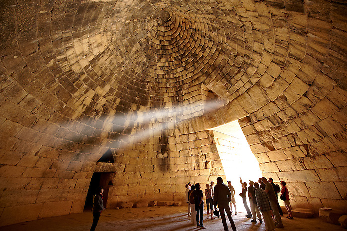 "Interior of the Treasury of Atreus is an impressive ""tholos"" beehive shaped tomb on the Panagitsa Hill at Mycenae. Mycenae UNESCO World Heritage  Archaeological Site, Peloponnese, Greece"