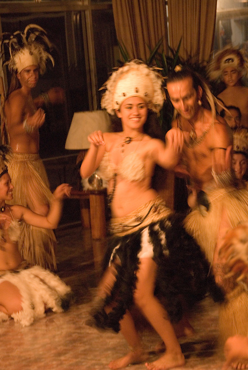 Chile, Easter Island:  The Kari Kari dance troupe dances at the Hotel Hanga Roa in Hanga Roa.  Easter Island and South Pacific dance styles..Photo #: ch334-33043..Photo copyright Lee Foster www.fostertravel.com lee@fostertravel.com 510-549-2202