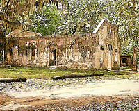 "Located on St. Helena's Island near Beaufort, SC, this chapel is one of the few remaining buildings built from ""Tabby"". Tabby is a mixture of oyster shells, lime, sand and water and it is similar to today's concrete. Many of South Carolina's plantations were somewhat remote and consequently the plantation owners would, at their own expense, build a chapel of ease, and pay a minister to occasionally hold services for themselves and their families."
