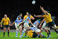 Martin Landajo of Argentina box-kicks the ball. The Rugby Championship match between Argentina and Australia on October 8, 2016 at Twickenham Stadium in London, England. Photo by: Patrick Khachfe / Onside Images