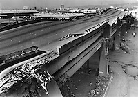 Vioew of the collapsed double-decked Cypress freeway in Oakland, Ca Oct 17,1998 following huge Loma Prieta earthquake. The quake pancaked the upper deck on to the lower. (photo by Ron Riesterer)<br />Oakland Tribune