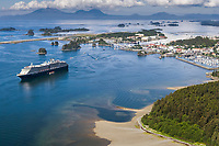 Aerial view of Holland America Cruise ship anchored in Sitka sound, off the coastal community of Sitka, Alaska, on Baranoff Island in the Southeast Alaska panhandle.