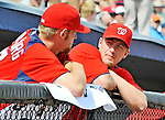 10 March 2012: Washington Nationals' pitcher Jordan Zimmermann (right) chats with Stephen Strasburg in the dugout during a Spring Training game against the New York Mets at Space Coast Stadium in Viera, Florida. The Nationals defeated the Mets 8-2 in Grapefruit League play. Mandatory Credit: Ed Wolfstein Photo