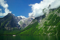 Berchtesgaden National Park, Bavavia, Germany, July 2004.  A tour boat sails over the konigsee lake, underneath the majestic Watzman east wall. We are trekking  from hut to hut in the Bavarian mountains of Berchtesgaden. Photo by Frits Meyst/Adventure4ever.com