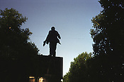 Eight years after Tajikistan declared its independence from Soviet Union, in 1991, a statue of Lenin still stands in a park in Dushanbe, Tajikistan.