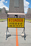 Americas, South America, Ecuador, Quito. The Equatorial Monument, near Quito, a popular tourst destination, also called &quot;the middle of the world&quot;.