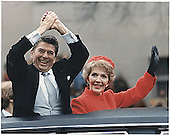 U.S. President Ronald Reagan and First Lady Nancy Reagan wave to well-wishers during the Inaugural Parade in Washington, DC on Tuesday, January 20, 1981.<br /> Credit: White House via CNP