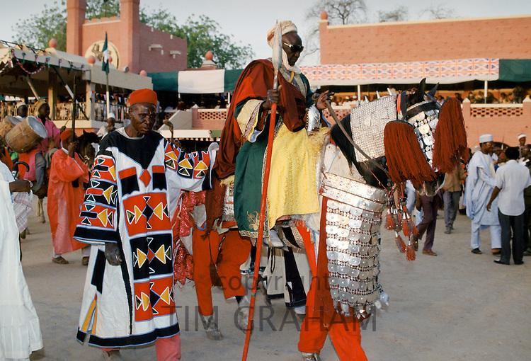 Nigerian chiefs at tribal gathering durbar cultural event at Maiduguri in Nigeria, West Africa