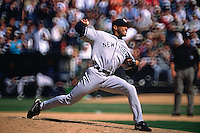 OAKLAND, CA - Mariano Rivera of the New York Yankees pitches during a game against the Oakland Athletics at the Oakland Coliseum in Oakland, California in 2003. Photo by Brad Mangin