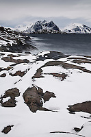 waves crash against rugged snow covered rocky coastline in winter, Stamsund, Vestvågøy, Lofoten islands, Norway