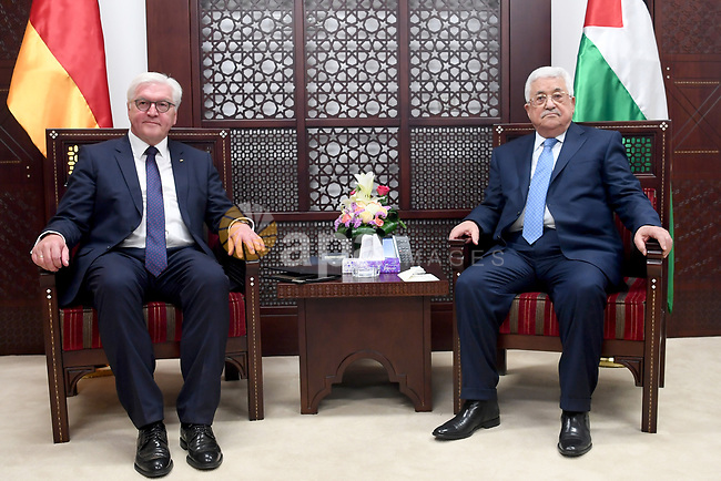 Palestinian President Mahmoud Abbas and German counterpart Frank-Walter Steinmeier give a joint press conference in the West Bank city of Ramallah on May 9, 2017. Photo by Osama Falah