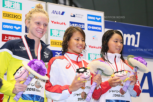 (L-R) Keryn McMaster (AUS), Sakiko Shimizu (JPN), Miho Takahashi, <br /> MAY 23, 2015 - Swimming :<br /> Japan Open 2015<br /> Women's<br /> 400m individual medley<br /> Award Ceremony<br /> at Tatsumi International Swimming Pool in Tokyo, Japan.<br /> (Photo by Yohei Osada/AFLO SPORT)
