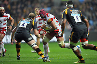 Sione Kalamafoni of Gloucester Rugby goes on the charge. Aviva Premiership match, between Wasps and Gloucester Rugby on November 8, 2015 at the Ricoh Arena in Coventry, England. Photo by: Patrick Khachfe / Onside Images