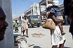 A United Nations truck passes through downtown on July 6, 2010 in Port-au-Prince, Haiti. UN convoys are still a frequent sight in Port-au-Prince.