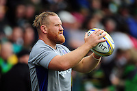 Ross Batty of Bath Rugby practises his throwing in during the pre-match warm-up. Aviva Premiership match, between Northampton Saints and Bath Rugby on September 3, 2016 at Franklin's Gardens in Northampton, England. Photo by: Patrick Khachfe / Onside Images