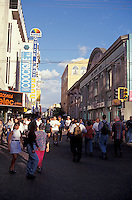 Crowds of people on Avenida Central, the main pedestrian mall in San Jose, Costa Rica