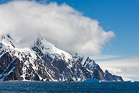 Rugged mountains of Elephant Island in the Southern Ocean