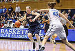 02 January 2012: Virginia's Lexie Gerson (14) is defended by Duke's Allison Vernerey (FRA) (43). The Duke University Blue Devils defeated the University of Virginia Cavaliers 77-66 at Cameron Indoor Stadium in Durham, North Carolina in an NCAA Division I Women's basketball game.