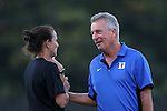 17 September 2015: Duke head coach Robbie Church (right) with assistant coach Carla Overbeck (left). The Duke University Blue Devils hosted the Appalachian State University Mountaineers at Koskinen Stadium in Durham, NC in a 2015 NCAA Division I Women's Soccer match. Duke won the game 6-0.