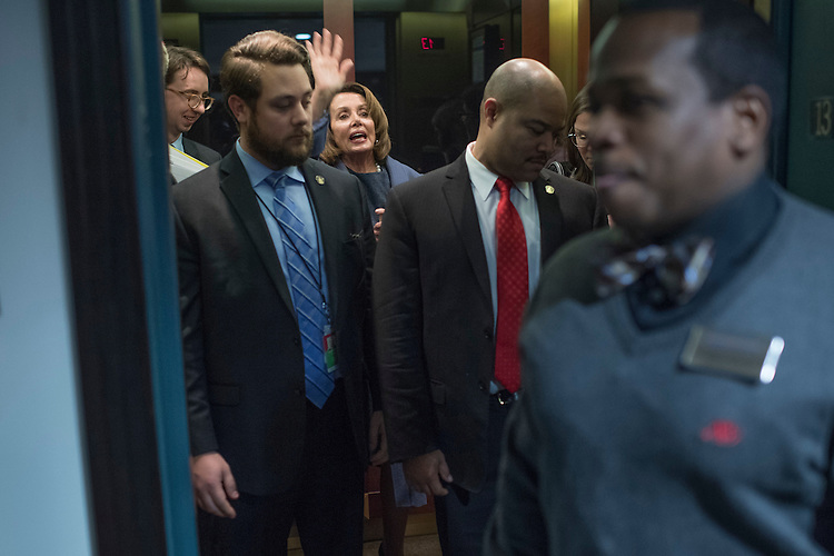 UNITED STATES - FEBRUARY 27: House Minority Leader Nancy Pelosi, D-Calif., leaves the National Press Club after delivering a prebuttal with Senate Minority Leader Charles Schumer, D-N.Y., to tomorrow's address to a joint session of Congress by President Donald Trump, February 27, 2017. (Photo By Tom Williams/CQ Roll Call)