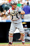 26 August 2007:  Washington Nationals catcher Jesus Flores in action against the Colorado Rockies at Coors Field in Denver, Colorado. The Rockies defeated the Nationals 10-5 to sweep the 3-game series...Mandatory Photo Credit: Ed Wolfstein Photo