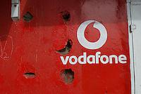 Hand painted Vodafone branding