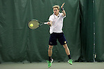 13 March 2016: Notre Dame's Josh Hagar. The Wake Forest University Demon Deacons hosted the University of Notre Dame Fighting Irish at the Wake Forest Indoor Tennis Center in Winston-Salem, North Carolina in a 2015-16 NCAA Division I Men's Tennis match. Wake Forest won the match 7-0.