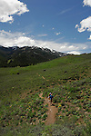 IDAHO. Ketchum. Sun Valley. Adams Gulch. Trail runners.