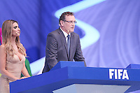 Costa do Sau&iacute;pe, Bahia, Brazil - Friday, Dec 6, 2013: <br /> FIFA Secretary General J&eacute;r&ocirc;me Valcke and Brazilian actress Fernanda Lima host the draw for 32 teams who have qualified for the finals.