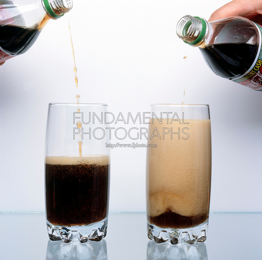 WARM SODA FOAMS MORE THAN COLD SODA: 2 of 3<br /> Demonstration Of Solubility Warm soda pop fizzes more than cold soda pop because the solubility of the dissolved carbon dioxide decreases with increasing temperature.