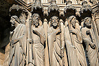 South Porch left jam. Cathedral of Chartres, France. Gothic statue of from left to right, they are Matthew , Thomas, Philip (with sword), Andrew (with cross) and Peter (with cross and keys),  A UNESCO World Heritage Site.
