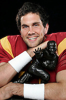 7 April 2005: Exclusive portrait of Pac-10 college football player, USC Trojans Quarterback #11 Matt Leinart with his Heisman Trophy in studio. Currenlty NFL player for the Arizona Cardinals.