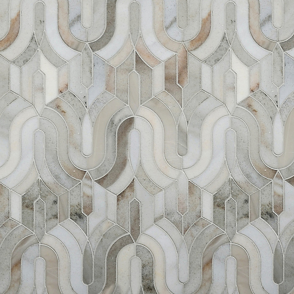 Kasbah, a stone waterjet mosaic, shown in honed Angora and Cashmere.<br /> <br /> For pricing samples and design help, click here: http://www.newravenna.com/showrooms/