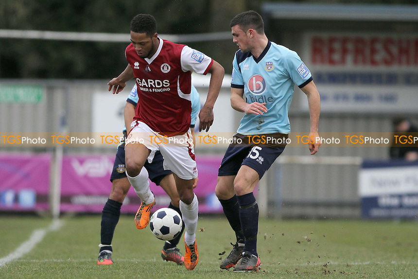 Donovan Simmonds (Chelmsford City) and Michael Green (Eastleigh fc) - Eastleigh vs Chelmsford City - Blue Square Conference South Football at Silverlake Stadium, Eastleigh, Hampshire - 16/02/13 - MANDATORY CREDIT: Mick Kearns/TGSPHOTO - Self billing applies where appropriate - 0845 094 6026 - contact@tgsphoto.co.uk - NO UNPAID USE.