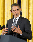 United States President Barack Obama makes remarks prior to awarding the 2011 National Medal of Arts and 2011 National Humanities Medal during a ceremony in the East Room of the White House in Washington, D.C. on Monday, February 13, 2012..Credit: Ron Sachs / Pool via CNP