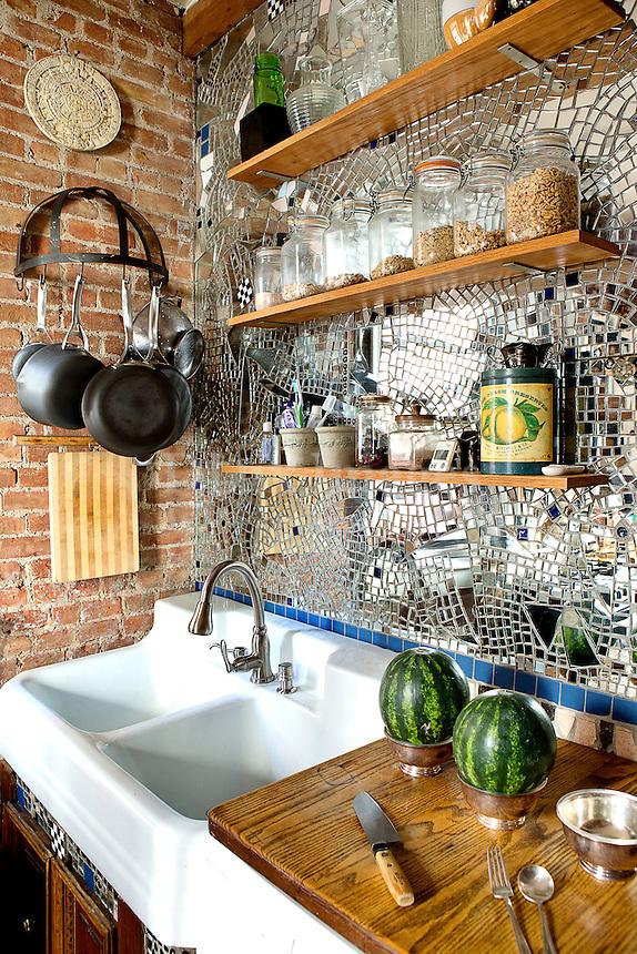 Mirror mosaic in kitchen