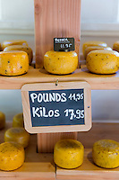 Gouda cheese prices Metric Kilos and Imperial Pounds in Dutch cheese shop, Jordaan district, Amsterdam, Holland