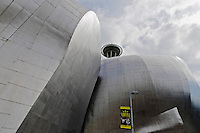 EMP Museum, & Space Needle at Seattle Center, Experience Music Project, designed by Frank Gehry, Seattle, Washington, USA