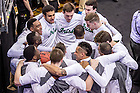 Mar. 28, 2015; The Irish huddle before the 2015 NCAA Tournament regional final against Kentucky. (Photo by Matt Cashore/University of Notre Dame)