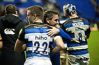 George and Mike Ford embrace after the match. Aviva Premiership match, between London Irish and Bath Rugby on November 7, 2015 at the Madejski Stadium in Reading, England. Photo by: Patrick Khachfe / Onside Images