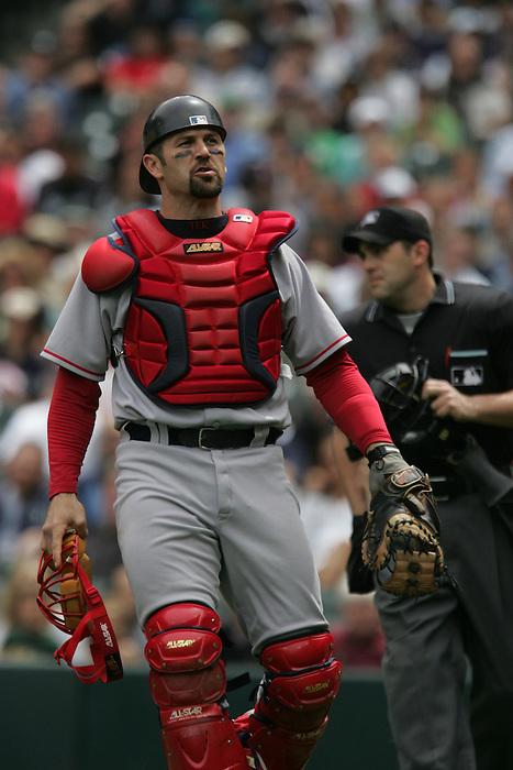 27 June 2007: Red Sox catcher Jason Varitek Seattle Mariners vs Boston Red Sox at Safeco Park in Seattle, Washington.